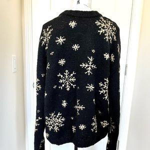 VTG J. Crew Wool Black Snowflake Sweater Sz L